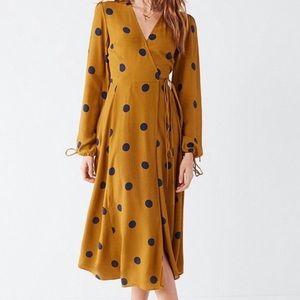 UO Long Sleeve Polkadot Audrey Midi Wrap Dress